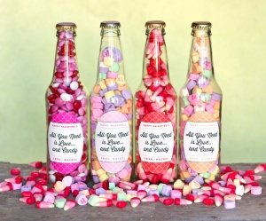 DIY Valentine candy bottles